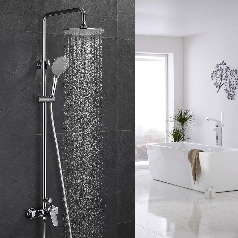 Ubeegol Regendusche Duscharmatur Einhebelmischer Duschset Duschsystem Duschgarnitur Duschpaneel Duschsäule Drehbar Duschstange Duschkopf Überkopfbrause Set für Bad