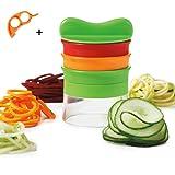 SIEGES 3 Blades Hand Held Spiralizer Vegetable Cutter Spiral Noodles Zucchini Spaghetti Pasta Maker - Best Veggie and Fruit Spiralizing Vegete Cutter Cheese Slicer Food Slicer Mandoline Slicer Non Slip Grip