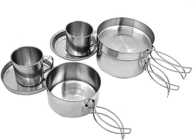 Set 8pcs mochila exterior Cookware del acero inoxidable olla ...