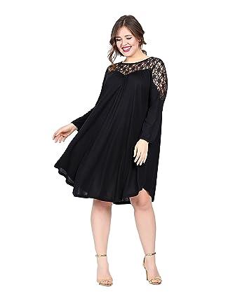 Kleid Tunikakleid Damen Schwarz auch Große Größen Übergrößen PLUS ...