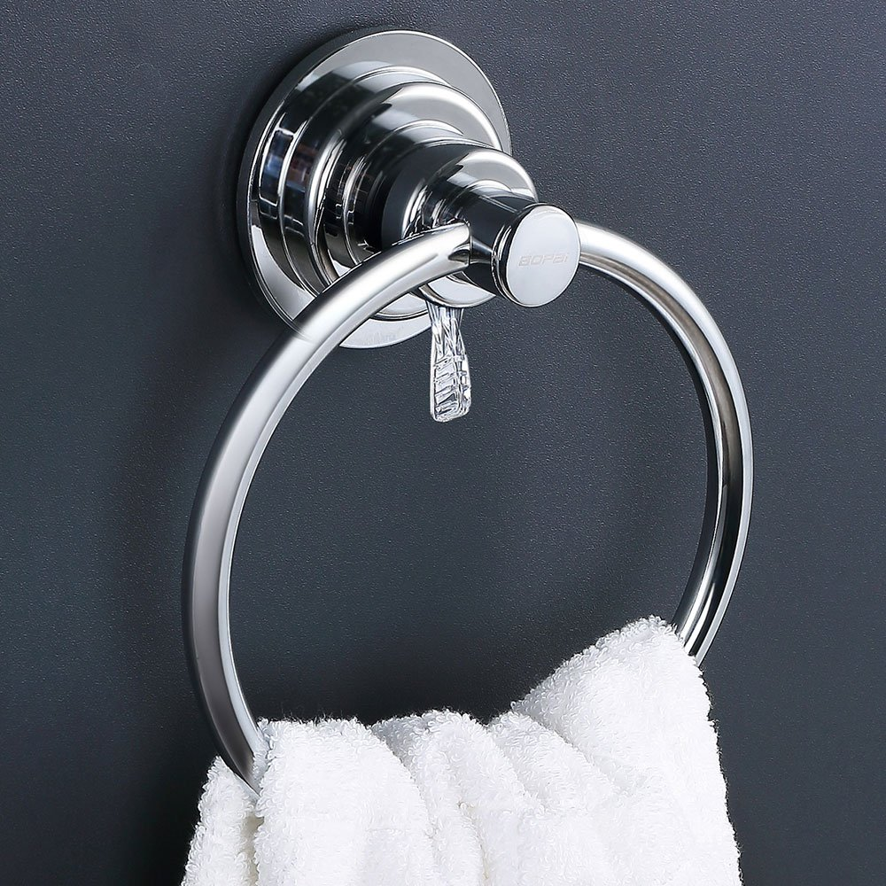 Bopai Drill Free Powerful Vacuum Suction Cup Towel Ring Shower Washcloth Hand Towel Round Holder by Bopai (Image #2)