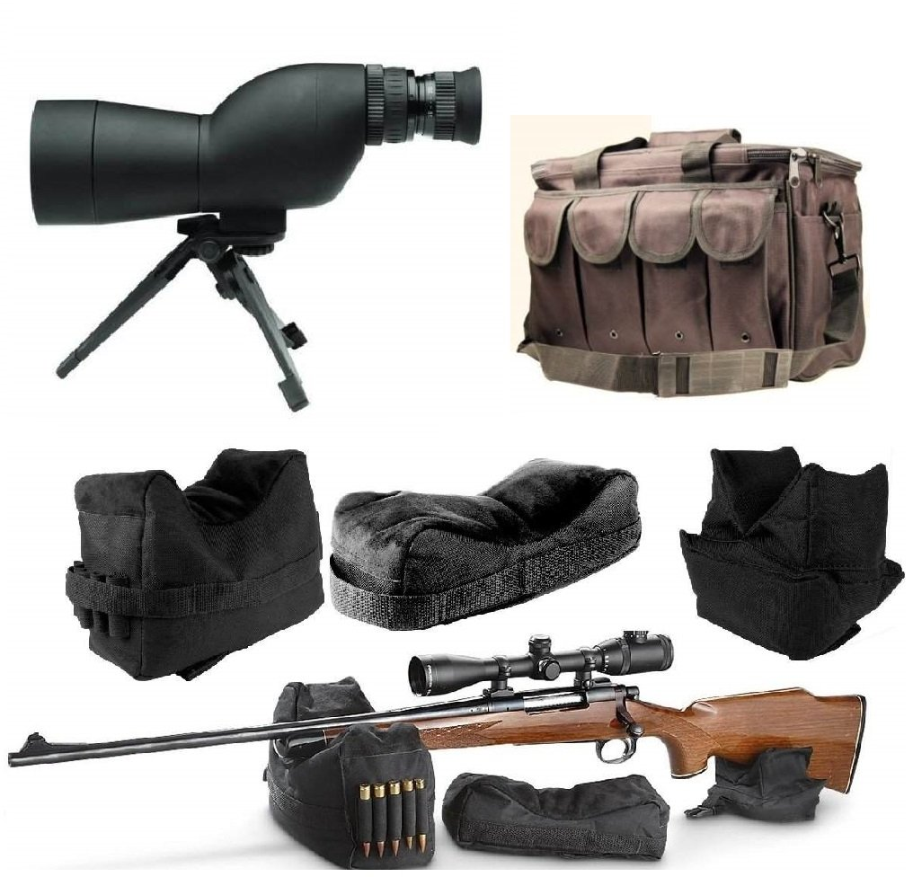 Ultimate Arms Gear 15-40x50 mm Black Compact Tactical Hunting Spotting Scope + Tripod + Carry Case + Front & Rear 3 Piece Shooting Steady Shooter Support Bag Range Set + Range Bag