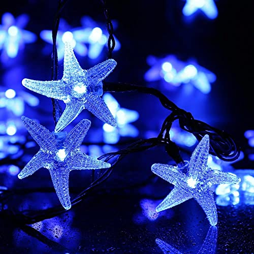 Original Starfish Solar String Lights, 20ft 30 LED Fairy Christmas Lights Halloween Lights Halloween Decorative Lighting for Garden, Home, Patio, Party and Holiday Decorations Blue