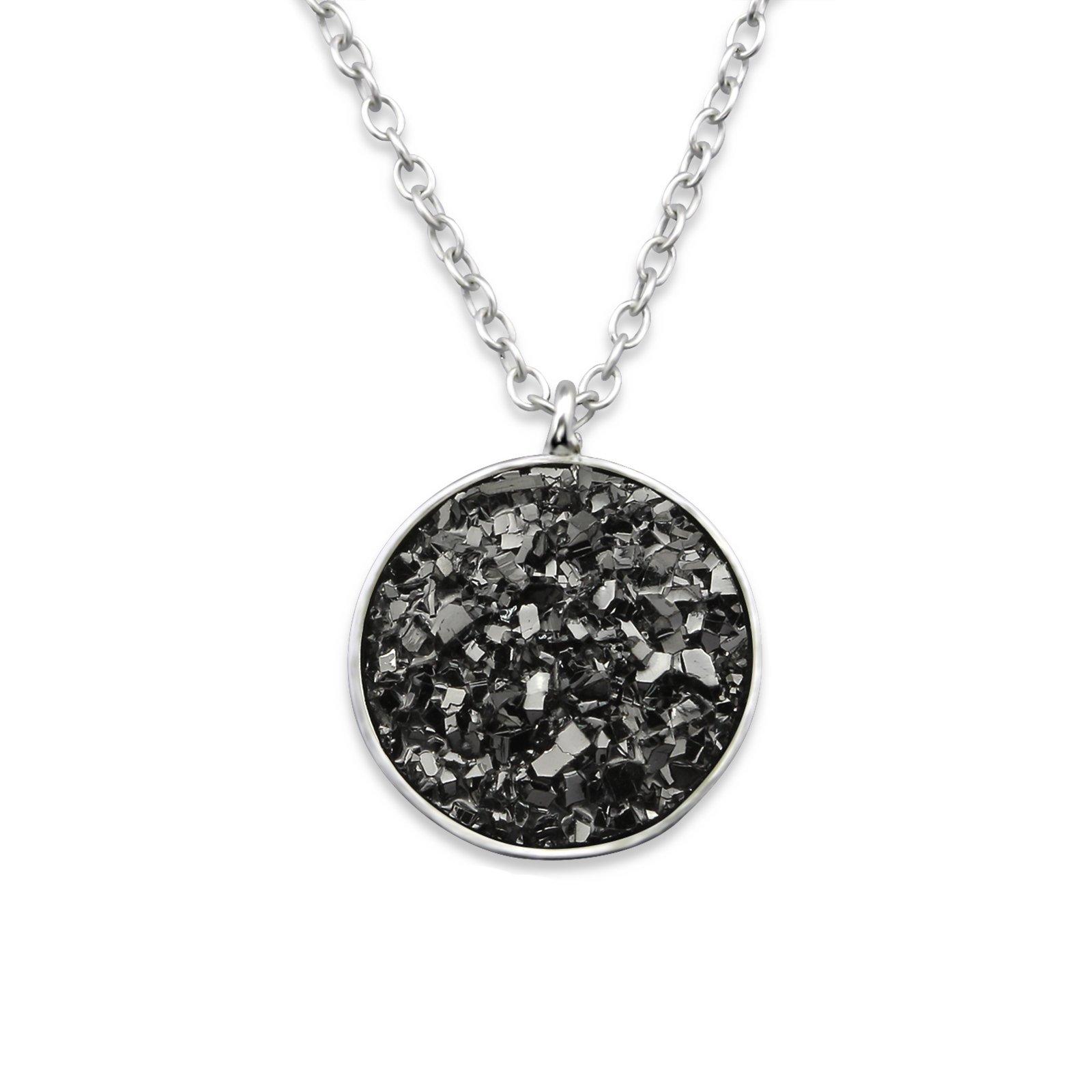 Atik Jewelry Silver Round Necklace with Druzy Stone - Grey