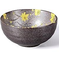 Chawan Cuenco/Té Matcha – Bol 300 ml Antracita/amarillo, diseño de flores, agujereada Original Aricola®