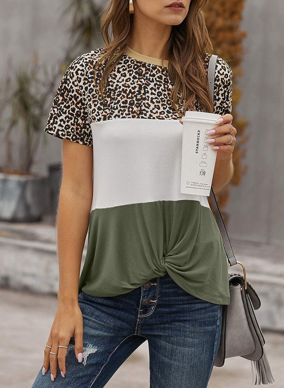 Akihoo Womens Short Sleeves Crewneck Leopard Color Block Tshirts Tunics Tops and Blouses