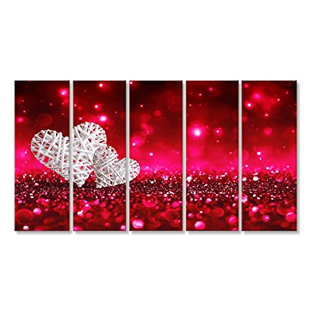 f4c57487c islandburner Canvas Wall Art Two hearts on red sparkle glitter Picture  Poster Large XXL Photo Print