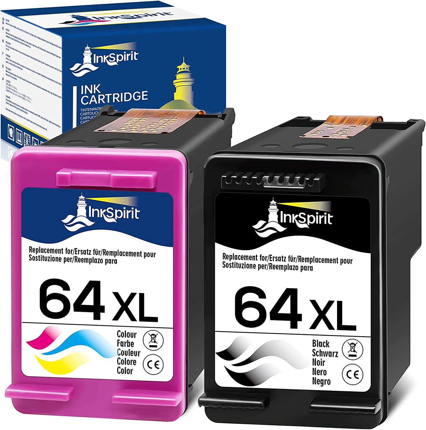 InkSpirit Remanufactured Ink Cartridge Replacement for HP 64 64XL 64 XL (1 Black + 1 Color Combo ) for Envy Photo 7855 6222 7800 7858 7155 6255 6252 7158 7164 7120 7130 Tango X Smart Home Wireless