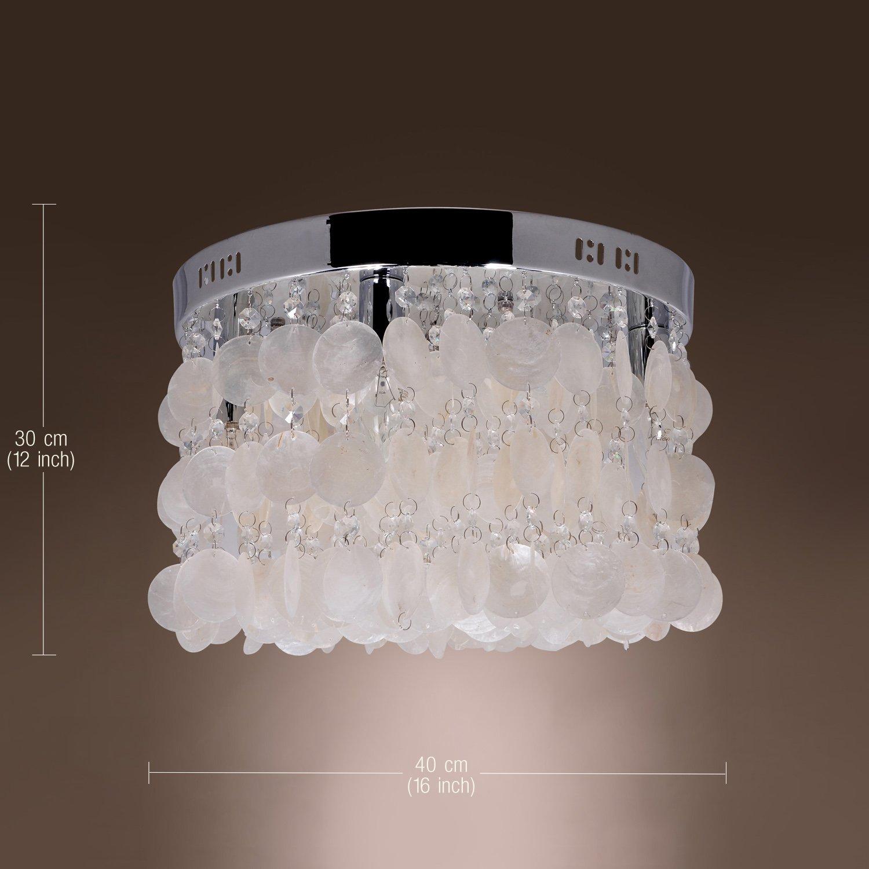 Lightinthebox modern white shell crystal home ceiling light fixture flush mount pendant light chandeliers lighting for bedroom living room amazon