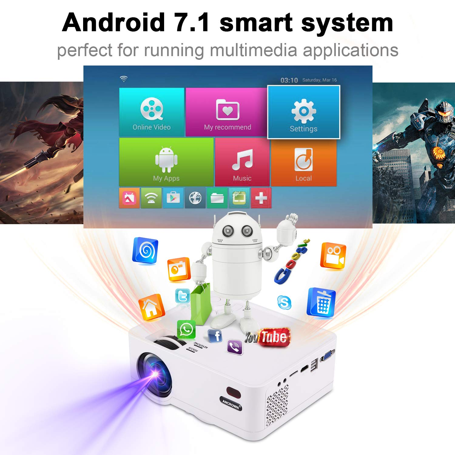 70,000 Hours LED Service Life ANCROWN 2019 Upgraded Android System 4500 Lumens Full HD 1080P Home Theater Projector PC et Video Projector Bluetooth WiFi Mini Projector for Smartphone TV Box