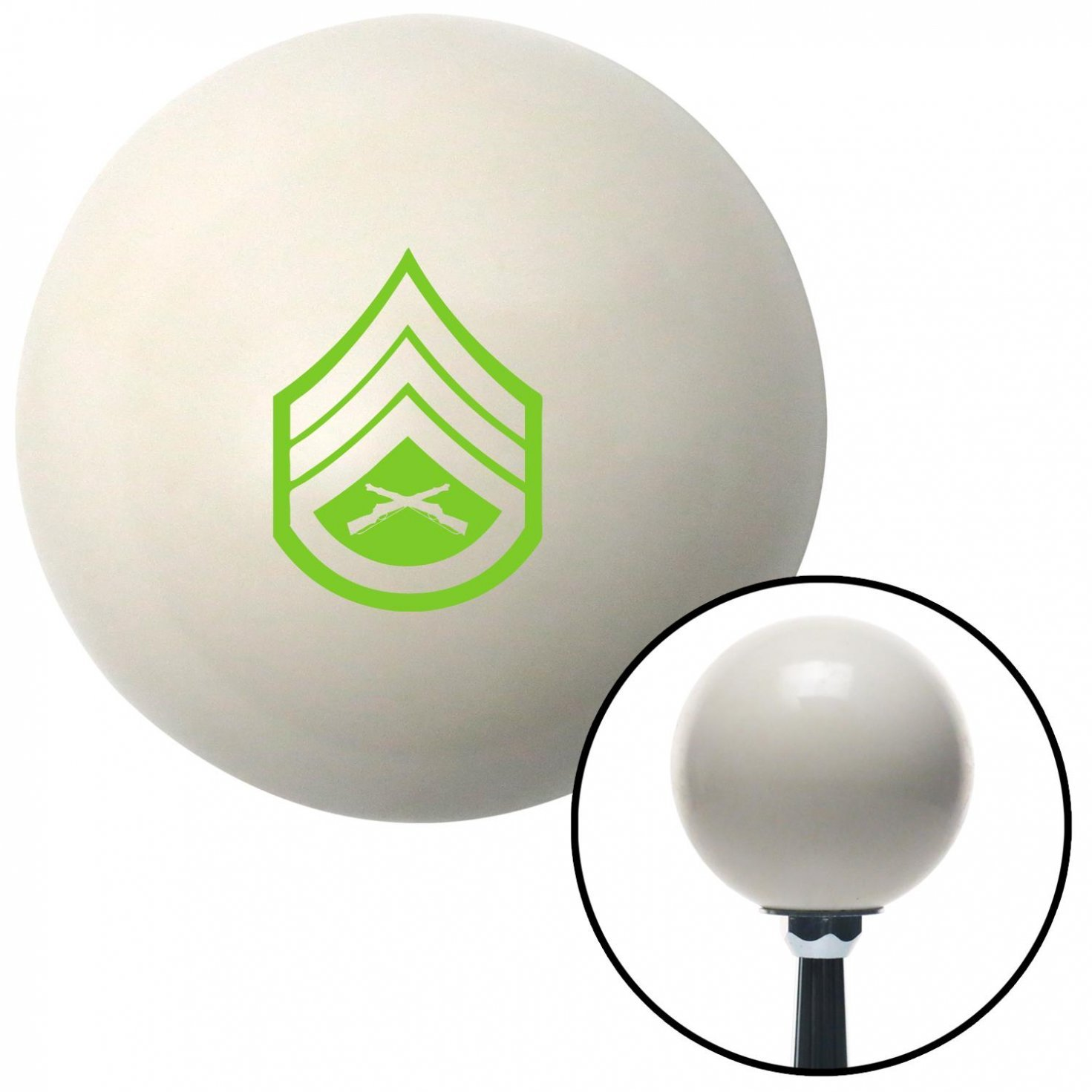 Green 05 Staff Sergeant American Shifter 40717 Ivory Shift Knob with 16mm x 1.5 Insert
