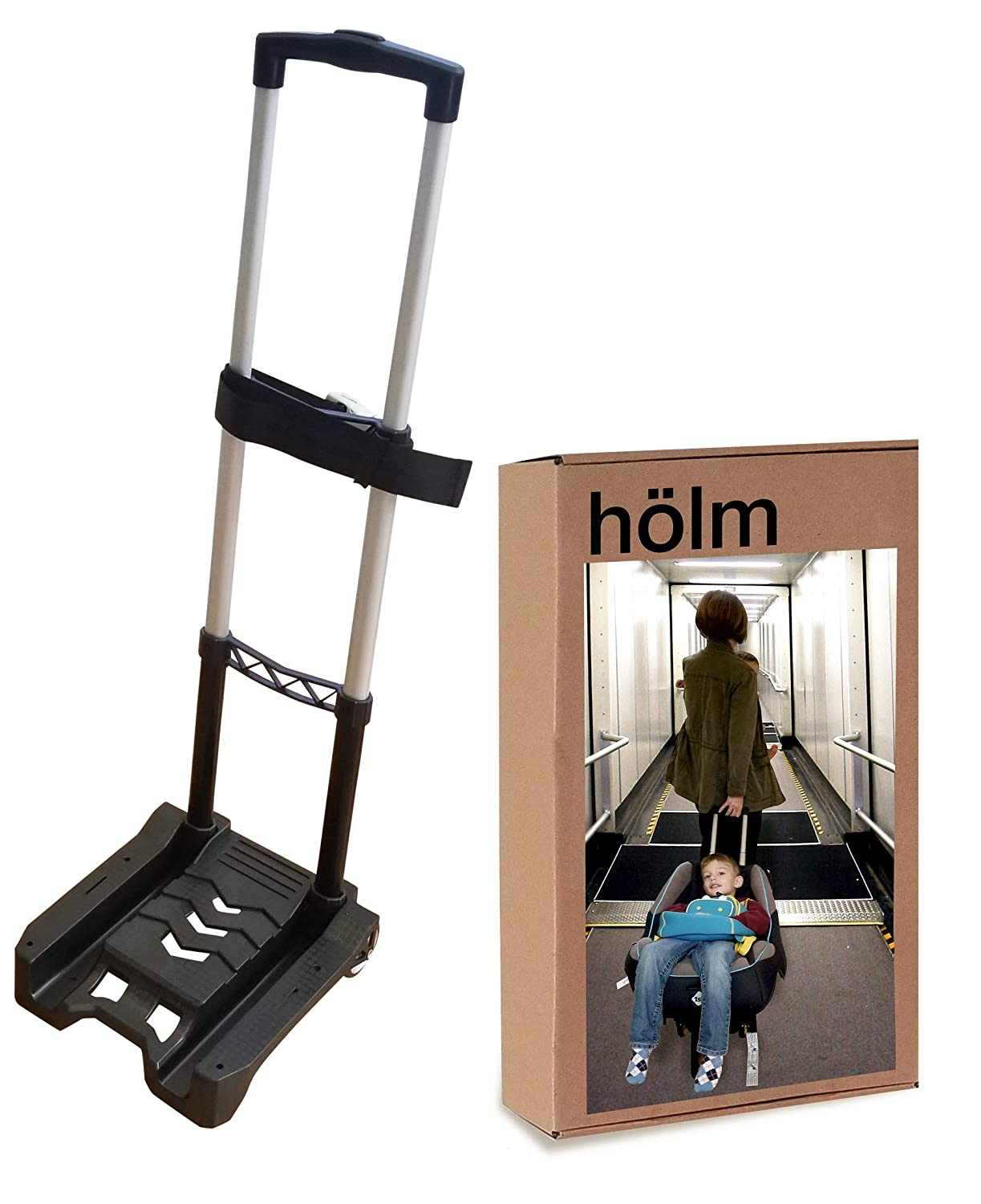 A Carseat Roller for Traveling Foldable and stowable Under Your Airplane seat or Over Head Compartment. storable Holm Airport Car Seat Stroller Travel Cart and Child Transporter