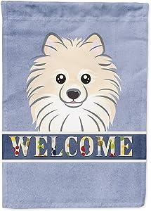 Caroline's Treasures BB1393GF Pomeranian Welcome Flag Garden Size, Small, Multicolor