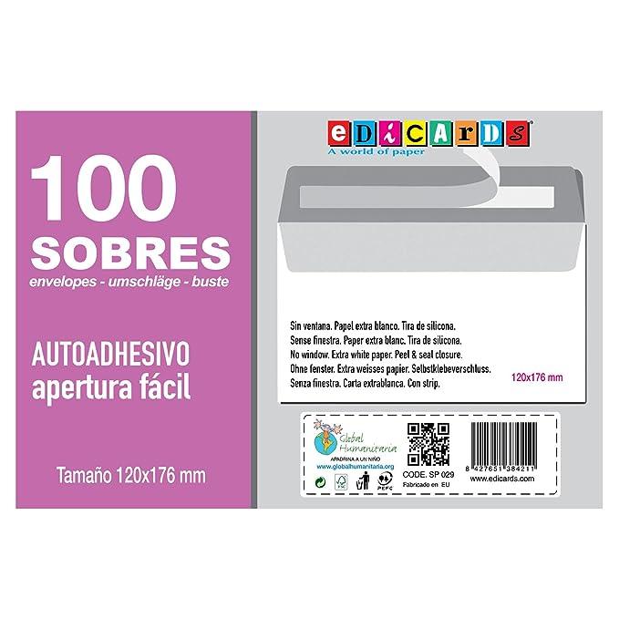 4fd30afe2d99 Sobres blancos tamaño 120x176mm sin ventana marca Edicards. Paquete de 100  unidades.: Amazon.es: Oficina y papelería