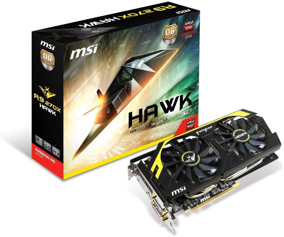 MSI AMD Radeon R9 270X, 2GB GDDR5, PCI Express 3.0 Graphics Card R9 270X Hawk