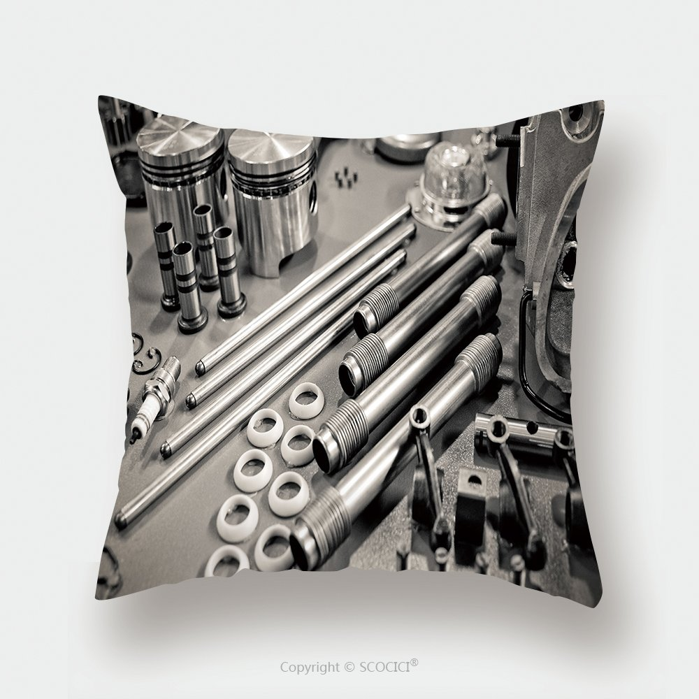 Custom Satin Pillowcase Protector Collection Of Sepia Toned Precision Auto Engine Parts Laid Out In A Workshop 75113650 Pillow Case Covers Decorative by chaoran