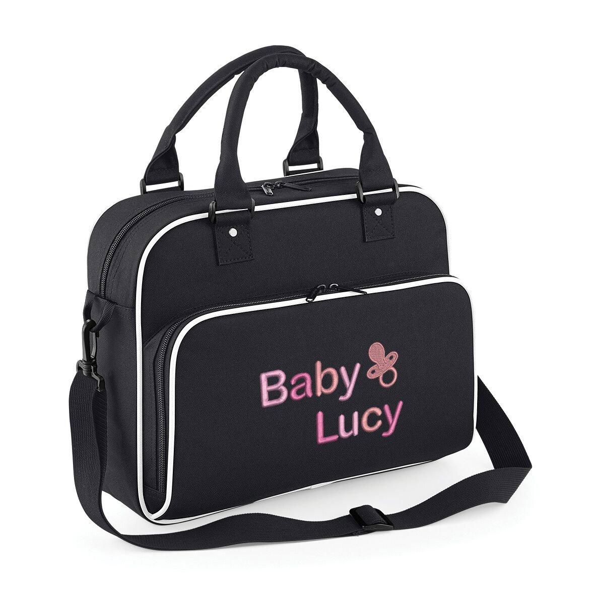 Dummy logo Black with white trim Personalised /& Stylish Baby Travel Nappy Changing Bag