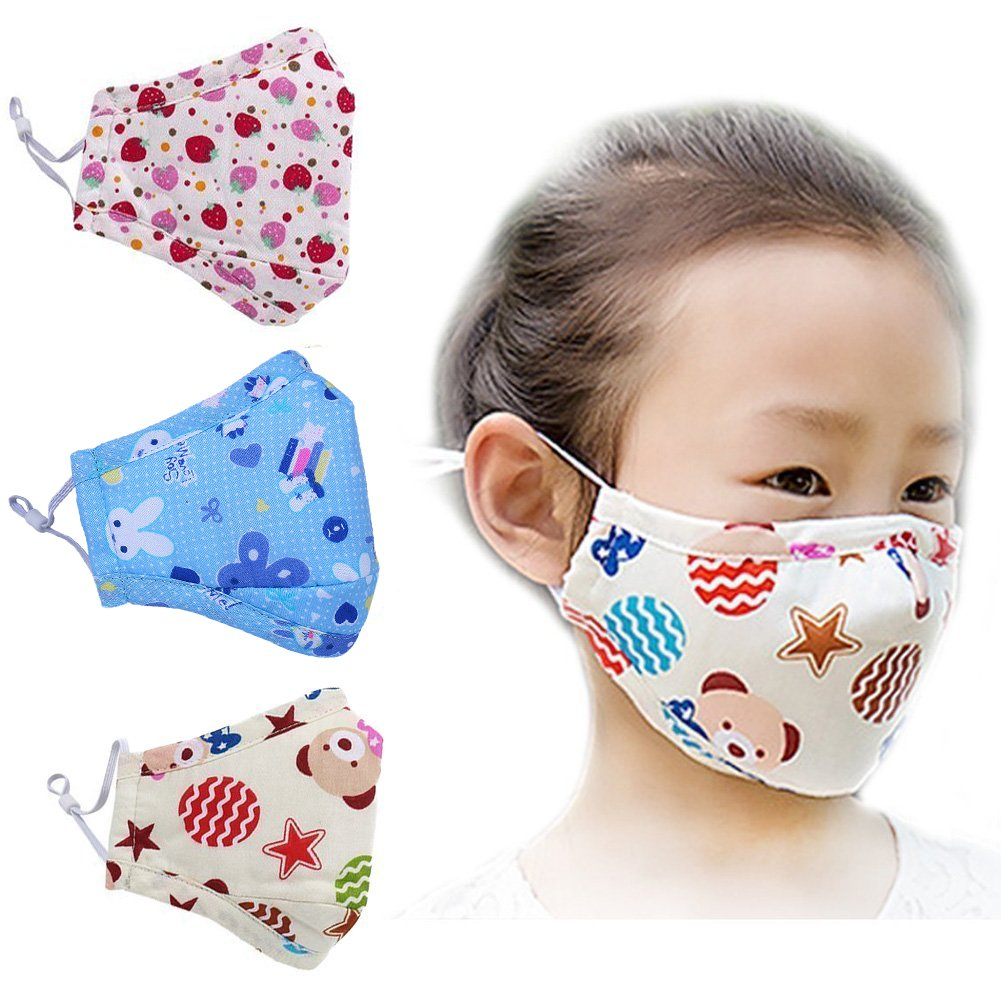 ZWZCYZ 3Pcs Kids Cartoon Cars Cotton Mask Children's PM2.5 Guaze Mask Dustproof Face Mask with N95 Filters (Strawberry+Blue Star+Little Bear)