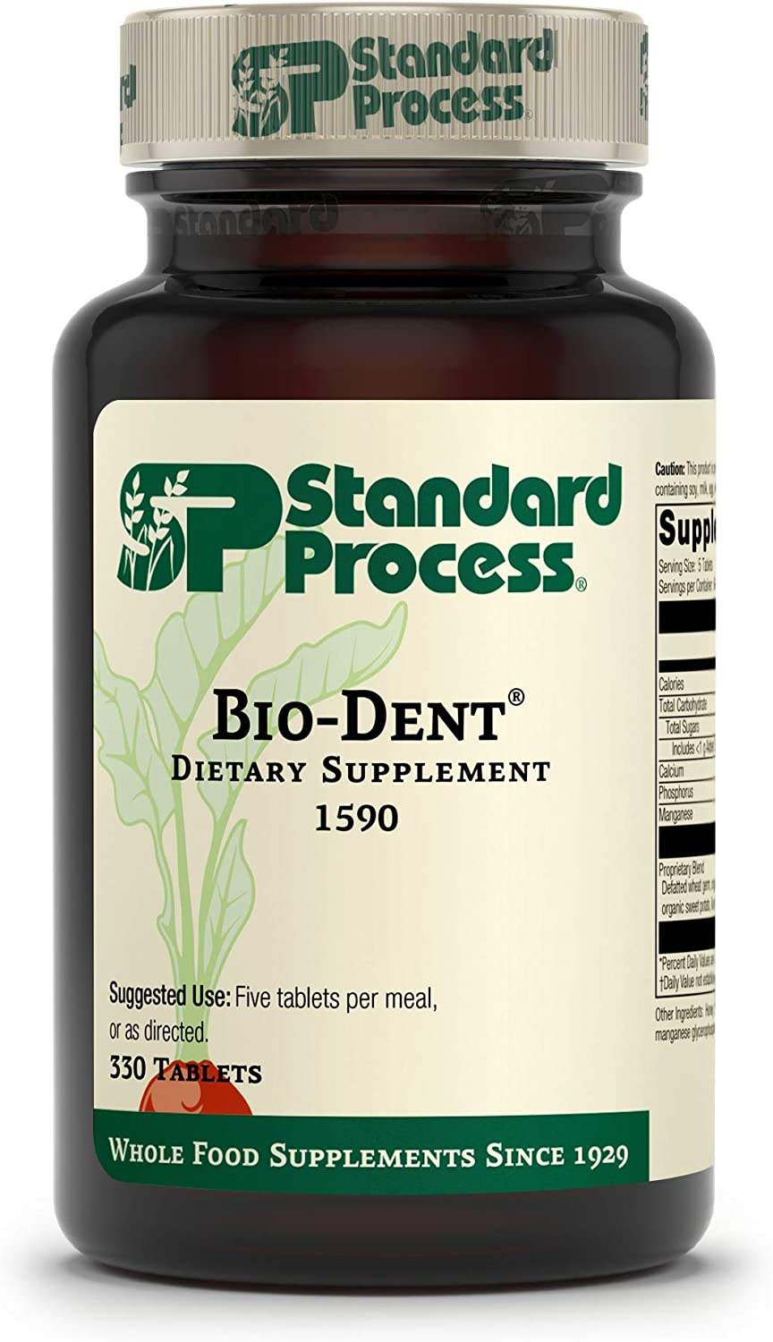Standard Process Bio-Dent - Whole Food Supplement for Skin, Muscle, and Bone Health - Calcium, Licorice Root, Manganese, Phosphorus, and More - 330 Tablets