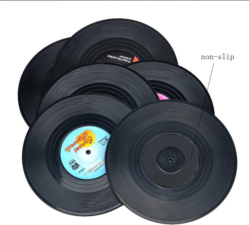 Vintage Vinyl Record Beverage Coasters Set Type A, 6pcs Drink Cup Coasters