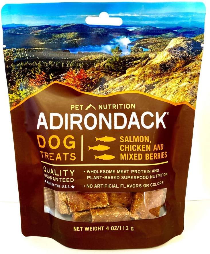 Adirondack Pet Food Jerky Dog Treats Made in USA - Slow Cooked, Delicious, Healthy Dog Jerky Treats – Chicken, Sweet Potato, & Pumpkin - 4 oz. resealable Bag