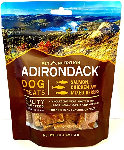 Adirondack Jerky Dog Treats Made in USA – Slow Cooked, Delicious, Healthy Dog Jerky Treats Choose Chicken or Salmon – 4 oz. resealable bag.