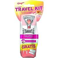 Wilkinson Sword Quattro for Women Travel Kit - Rasierapparat mit 1 plus 2 Klingen und Reiseetui Gratis