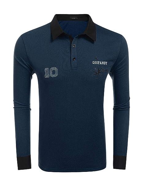 Rugby Camisa De Los Hombres Polo De Manga Larga De Ocio Monocromáticos La Camiseta De La
