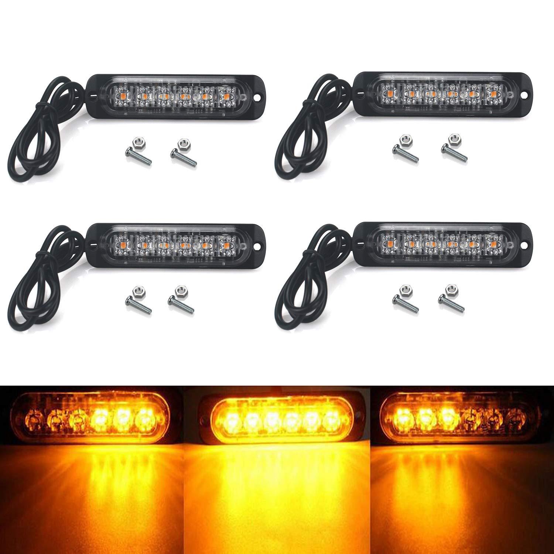 High Key Universal 4pcs Amber Cree 6 LED Recovery Strobe Warning Flashing Light Breakdown Lamp Grill 12V//24V