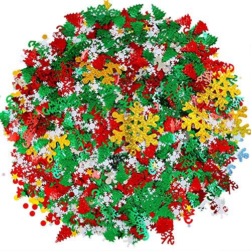Resinta 150g/7500 Pieces Christmas Table Confetti Christmas Design Confetti Pentagram, Elk, Snowflake, Santa, Pine, Sequin, Merry Christmas Alphabet Confetti Bright Christmas Party Decoration -