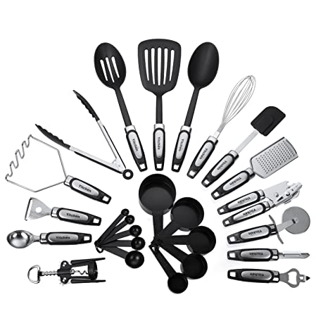 3fae372d6 Amazon.com: 25-Piece Kitchen Tool & Utensil Set, Cooking Gadgets, Stainless  Steel & Nylon: Kitchen & Dining