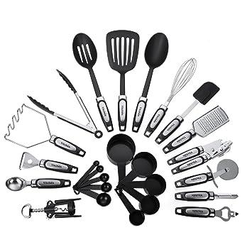 25 Piece Kitchen Utensils Set, Cooking Tools U0026 Gadgets, Stainless Steel U0026  Nylon
