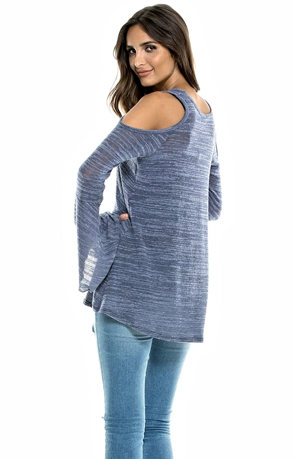 ec4d85c8f04cfc ELAN Women s Bell Sleeve Cold Shoulder Tunic Sweater (Medium ...