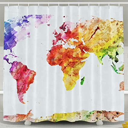 R ANSXYX Shower Curtain Watercolor World Map Colorful Waterproof Bathroom Decor With Hooks 180x180cm