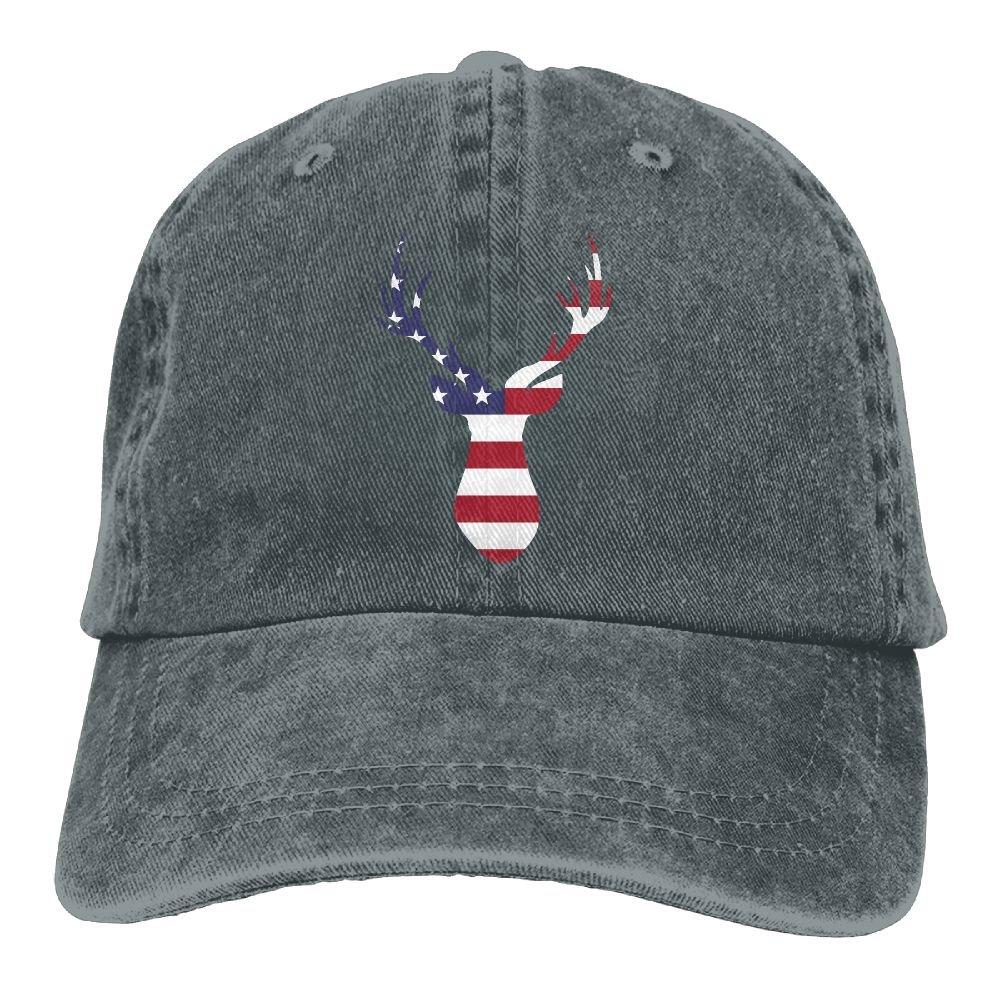 Trableade Deer American Flag Adult Sport Adjustable Structured Baseball Cowboy Hat