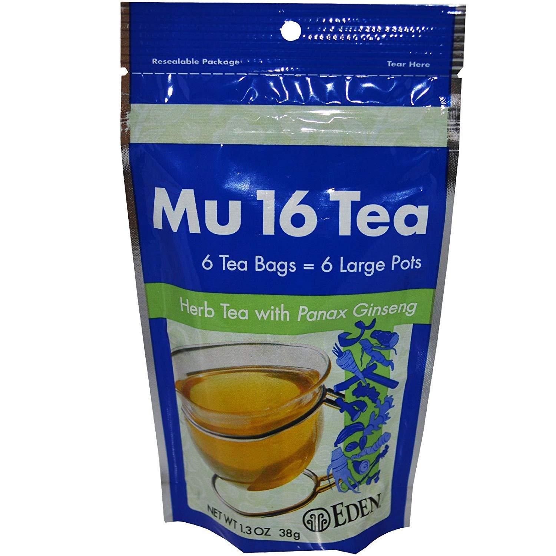Eden Mu #16 Tea (herb tea), Reclosable Pouch - 6 tea bags per pouch(6 Pack,36 Tea Bags)