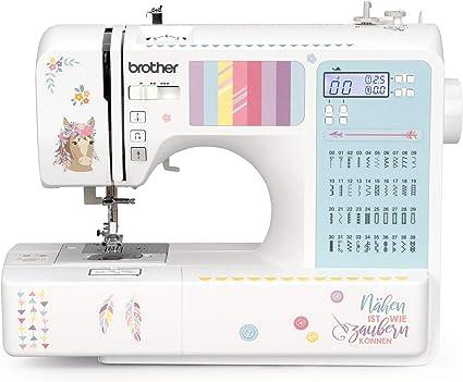 Máquina de coser para principiantes y avanzados: Brother FS-40 kullaloo Edition, incluye juego de costura, protector de dedos y pegatinas.: Amazon.es: Hogar