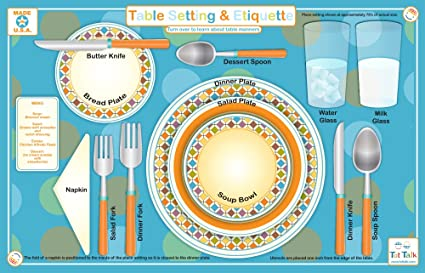 Tot Talk Table Setting u0026 Etiquette Educational Placemat for Kids Washable and Long-Lasting  sc 1 st  Amazon.com & Amazon.com: Tot Talk Table Setting u0026 Etiquette Educational Placemat ...