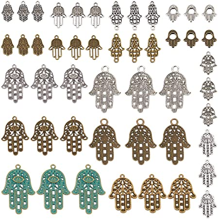Hamsa Hand Of Fatima Charm//Pendant Tibetan Antique Silver 23mm  5 Charms Crafts
