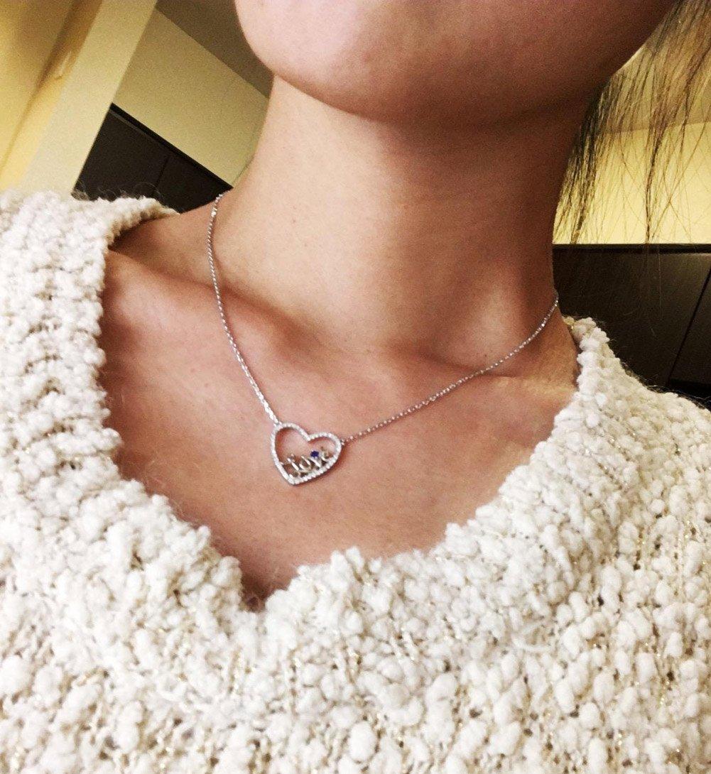 Caperci Sterling Silver Love Open Heart Pendant Necklace Women Girls, 18'' by Caperci (Image #7)