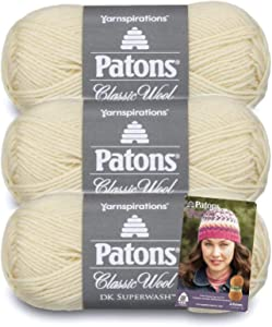 Patons Classic Wool DK Superwash Yarn - Gauge 3 Light - 100% Wool - (3-Pack) - Aran - for Crochet, Knitting, and Crafting