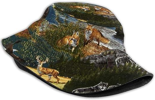 Montagne Faune Nature Ours Orignal Loup Aigle Renard Chapeau de Seau pour Hommes Femmes Enfants Casquette d/ét/é Chapeau de p/êche