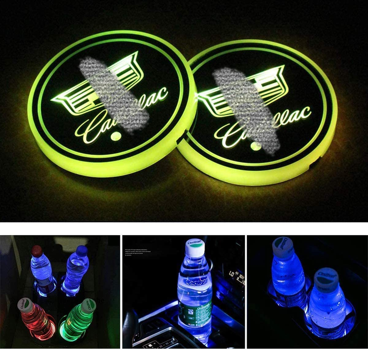 Luminescent Cup Pad Interior Atmosphere Lamp Decoration Light for Dodge Accessories 2 PCS N-A LED Cup Holder Lights Car Logo Coaster with 7 Colors Changing USB Charging Mat Dot