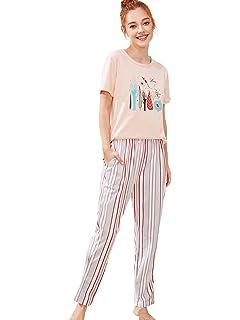 bf5452e75e SheIn Women's Cherry Print Top and Shorts 2-Piece Pajamas Set at ...