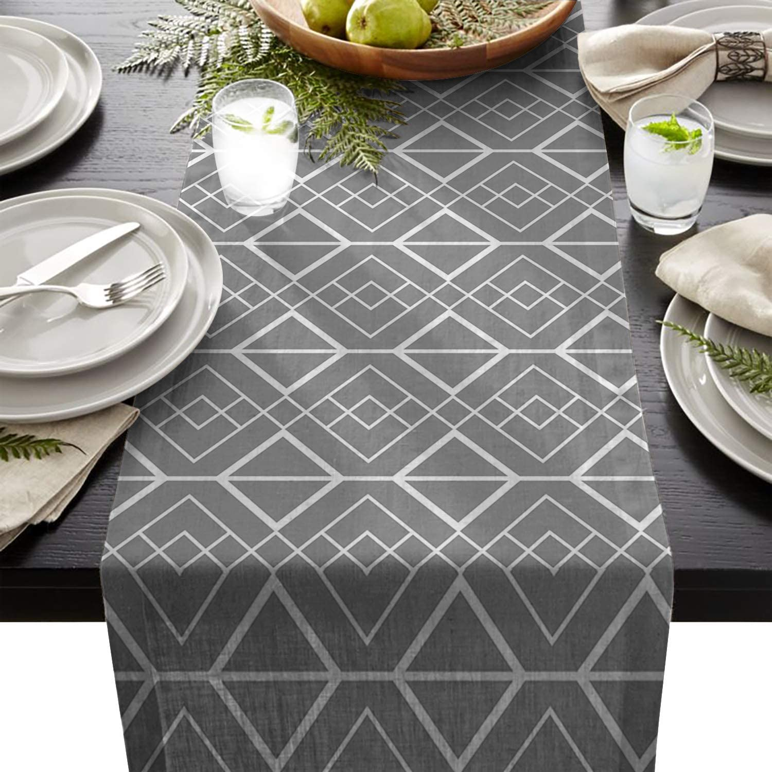 Beauty Decor Faux Burlap Table Runners Classic Natural Dresser Cover 13x90inch Table Runner Event Party Supplies Fabric Decorations for Wedding Birthday Baby Shower - Rhombus Geometric Grey White