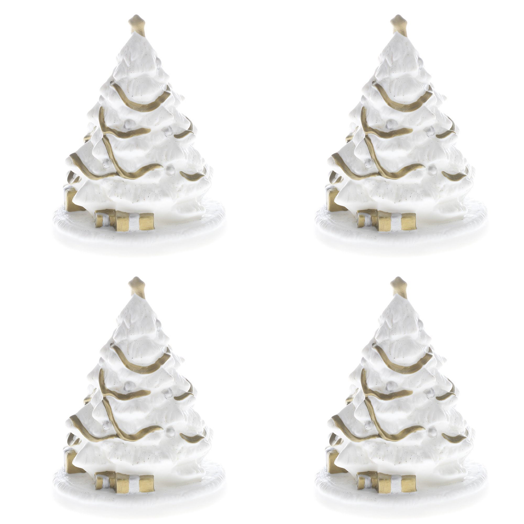 Group of 4 Vintage Inspired White Ceramic Christmas Trees Trimmed in Gold Painted Trimmings