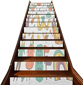 3D Fantasy Stair Stickers 13 PCS,Doodle Style Dragon Fairies Royalty and Wizard Middle Ages Heroic Legend Elements Vinyl Self-Adhesive Stair Risers Stickers,for Hotel Home Staircase Riser Decor
