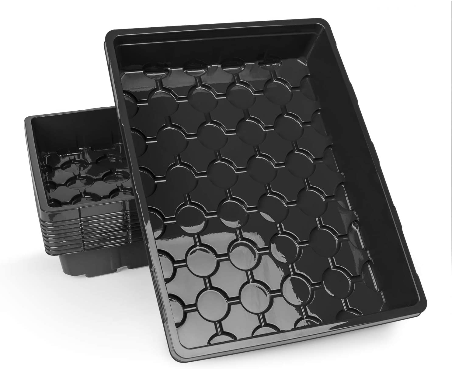 10-Pack Strong Seed Trays, Durable Black Plastic Growing Trays (Without Drain Holes) for Microgreens, Soil Blocks, Wheatgrass, Hydroponic -14.2inch x 10.8inch x 2.6inch - Black