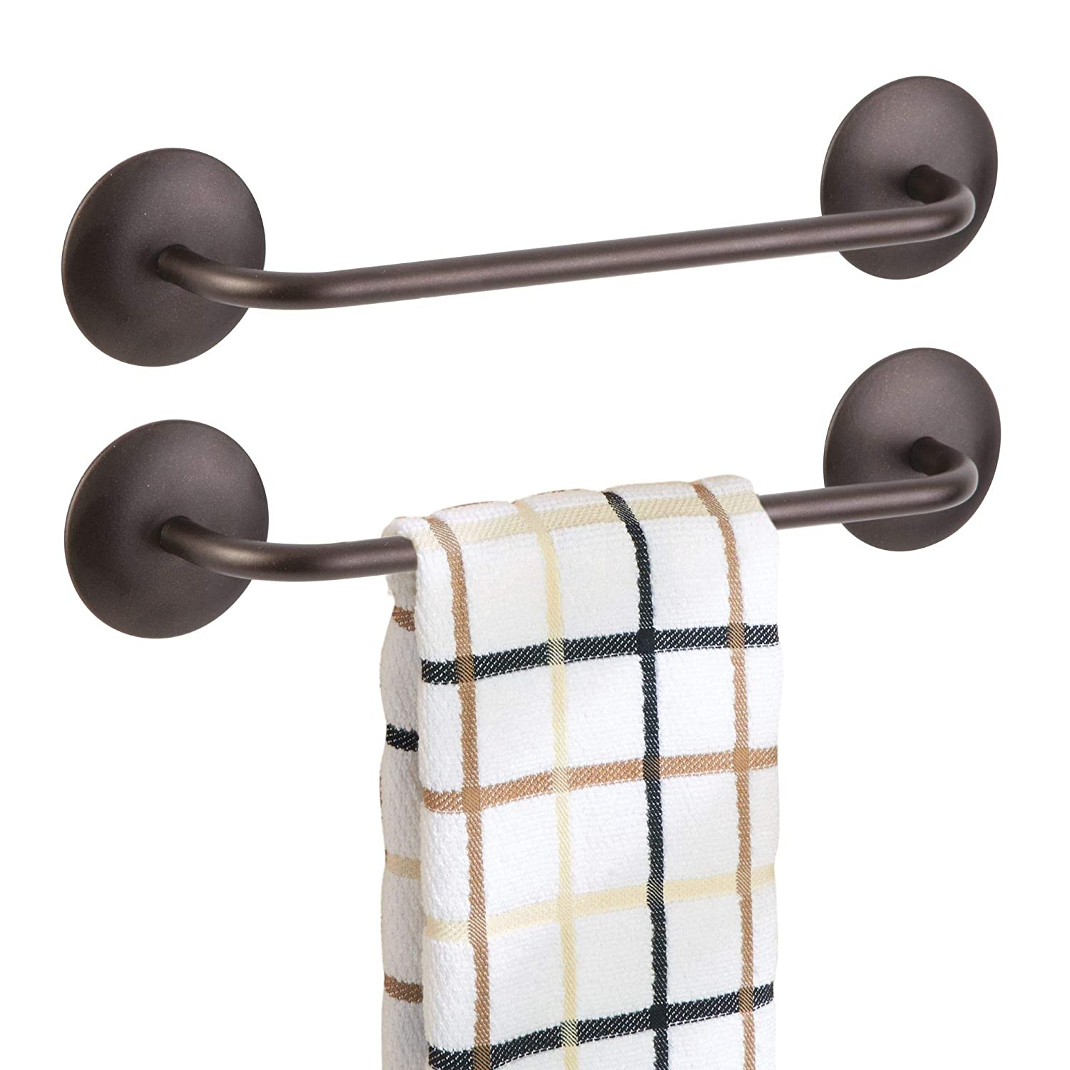mDesign Kitchen Self-Adhesive Towel Bar Holder for Hand Towels, Dish Towels - Pack of 2, Bronze MetroDecor