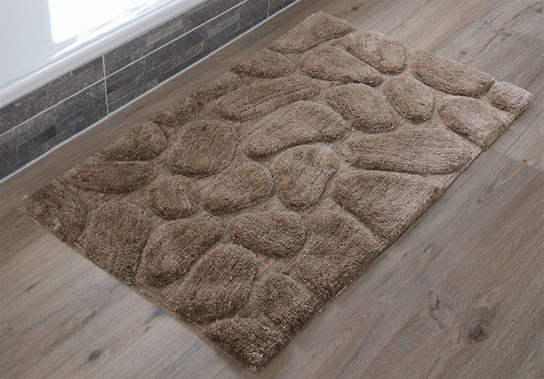 Gözze Exklusiv Hochflor Badteppich Steine 60 x 100 cm, sand